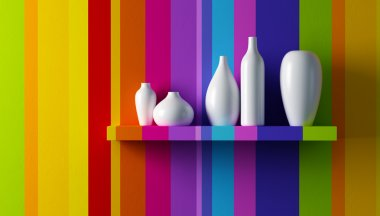 White vases on the shelf