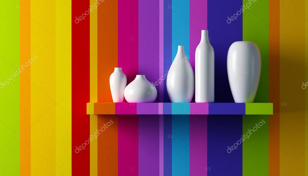 White vases on the shelf