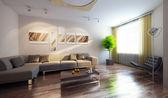 moderní interiér 3d vykreslení