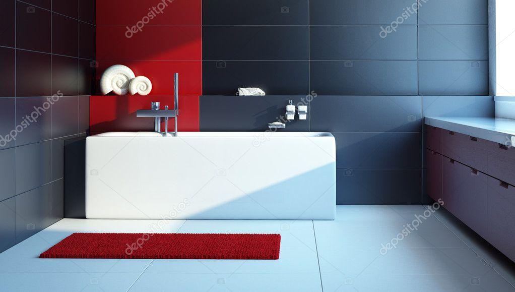 Moderno design interior de uma casa de banho stock photo for Badezimmer garnituren