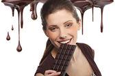 Fotografie portrait of beautiful woman mit einer schokolade wüste