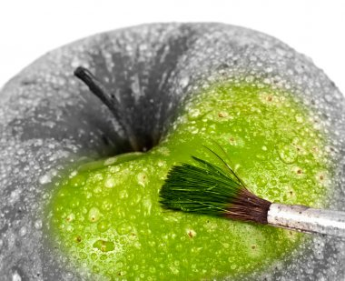 Green apple and brush.