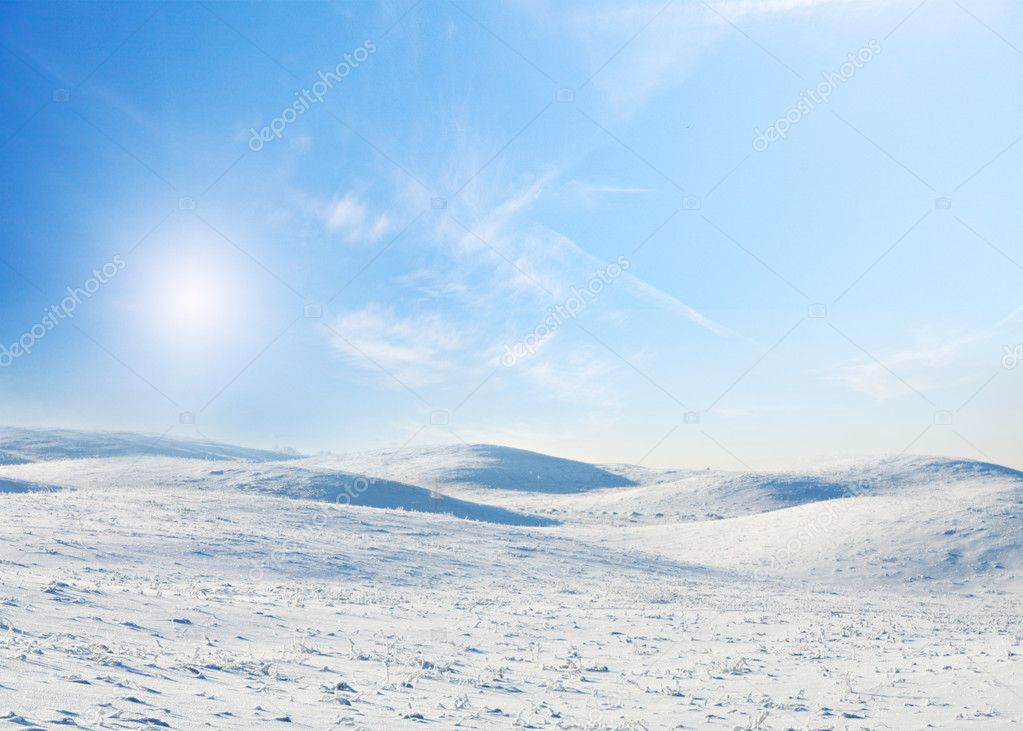 Snow field and forest under blue sky with crescent