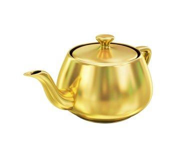 Golden teapot on white background