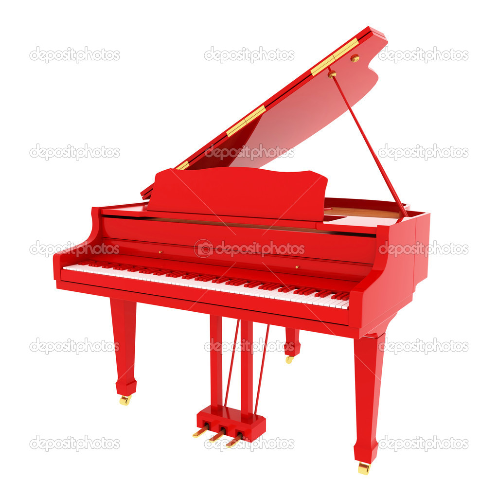 Real red grand piano isolated on white — Stock Photo ...