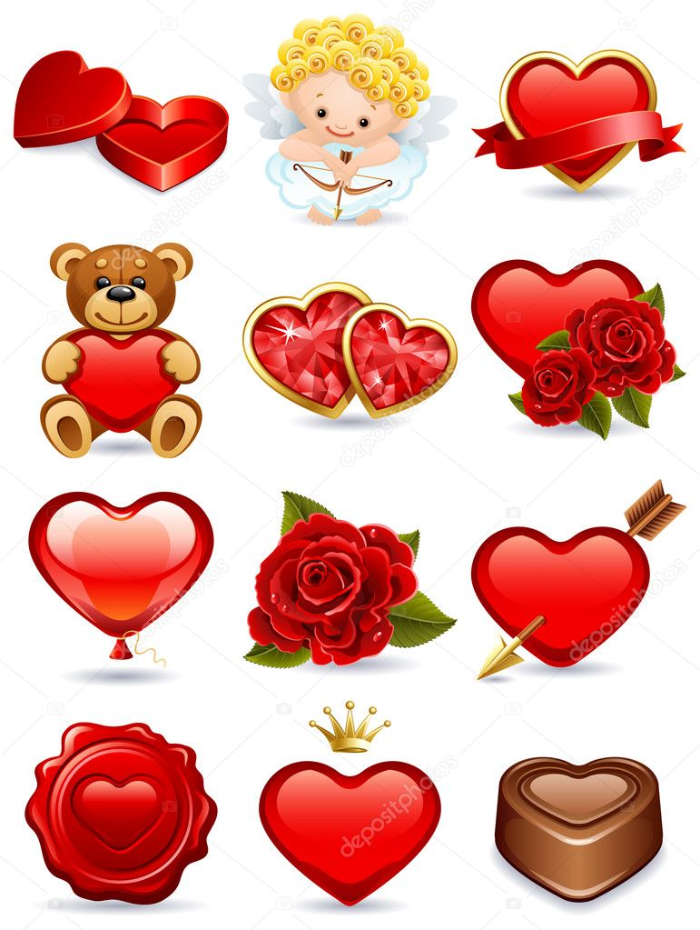 Vector illustration - valentine's day icon set clipart vector