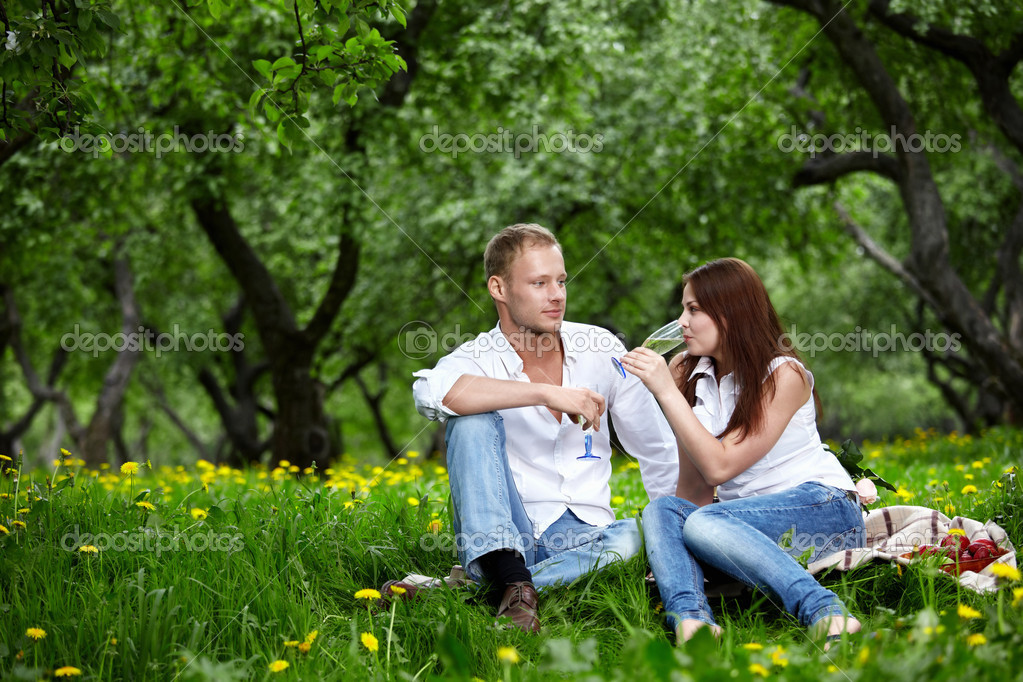 The young couple in park