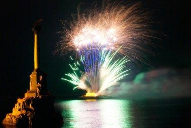 Salute, fireworks above the Sevastopol bay.