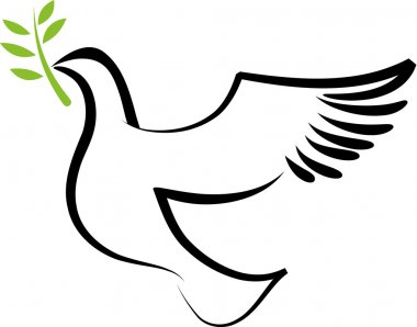 A free flying vector white dove with olive branch stock vector