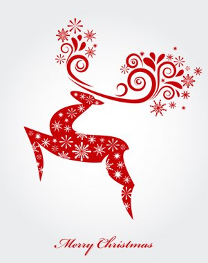 Vector Christmas background with red reindeer clip art vector