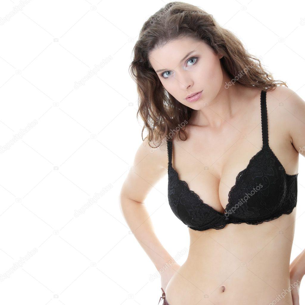 Female boobs in black bra art print by piotr marcinski