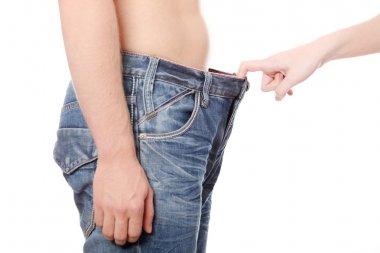 Girl looking in mens pants.