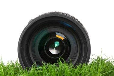 Lens on grass