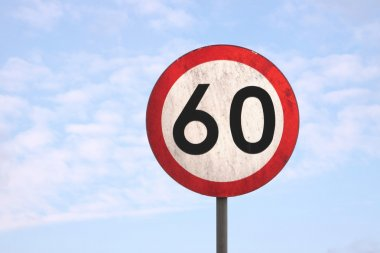 European dirty 60km speed limit traffic sign