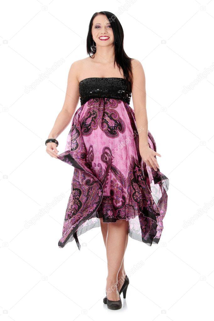 d0fea846f12b Parte ragazza in abito da sera– immagine stock