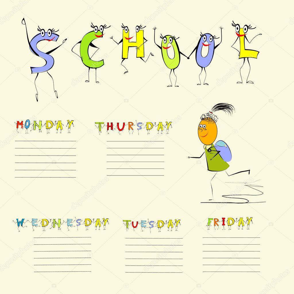 vorlage für die schule-zeitplan — Stockvektor © Jershova #4964650