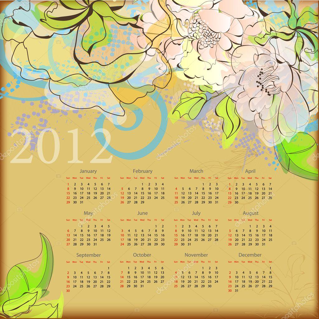 calendario decorativo para 2012 — Archivo Imágenes Vectoriales ...