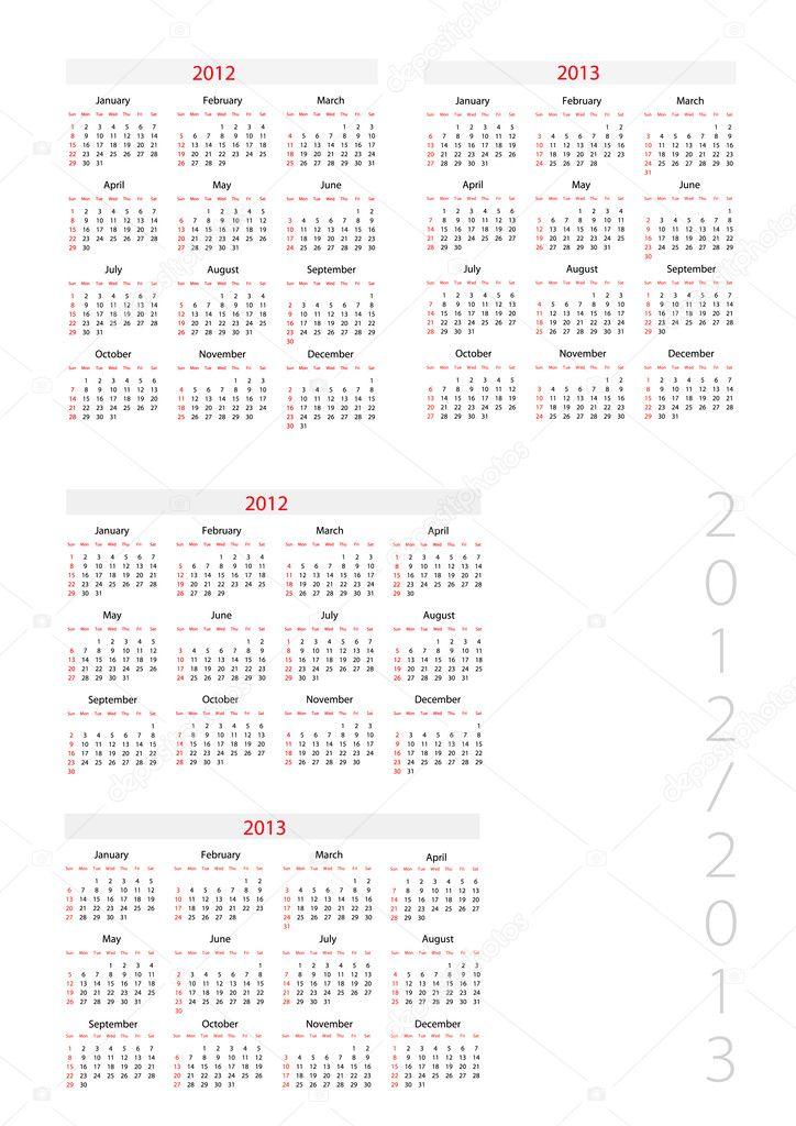 vorlage feind kalender 2012-2013 — Stockvektor © Jershova #5157068