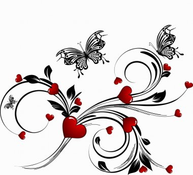 Saint valentines day heart floral abstract background clip art vector