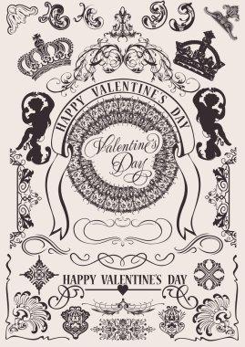 Vector set. Valentine's Design Elements. Elements For Page Decoration clip art vector