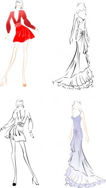 Black And Color Fashion Woman Sketches.