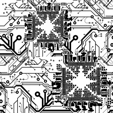One Color Vector Printed Circuit Board Pattern