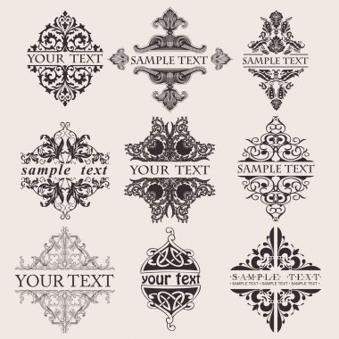 Set Of Nine Ornate Banner Text Quad