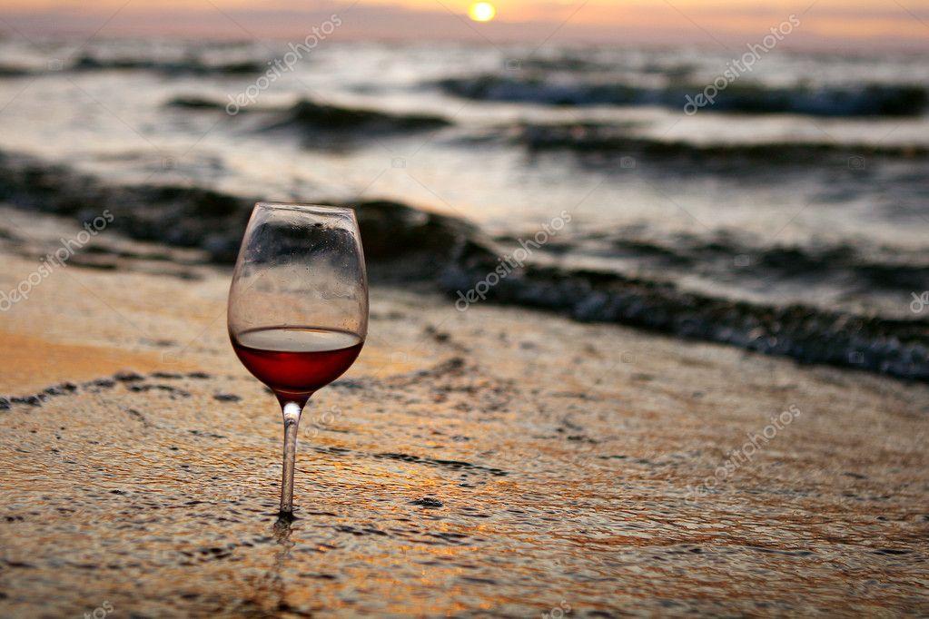 Wine glass in the sea