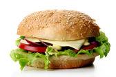 Photo A fresh hamburger with salad and onion