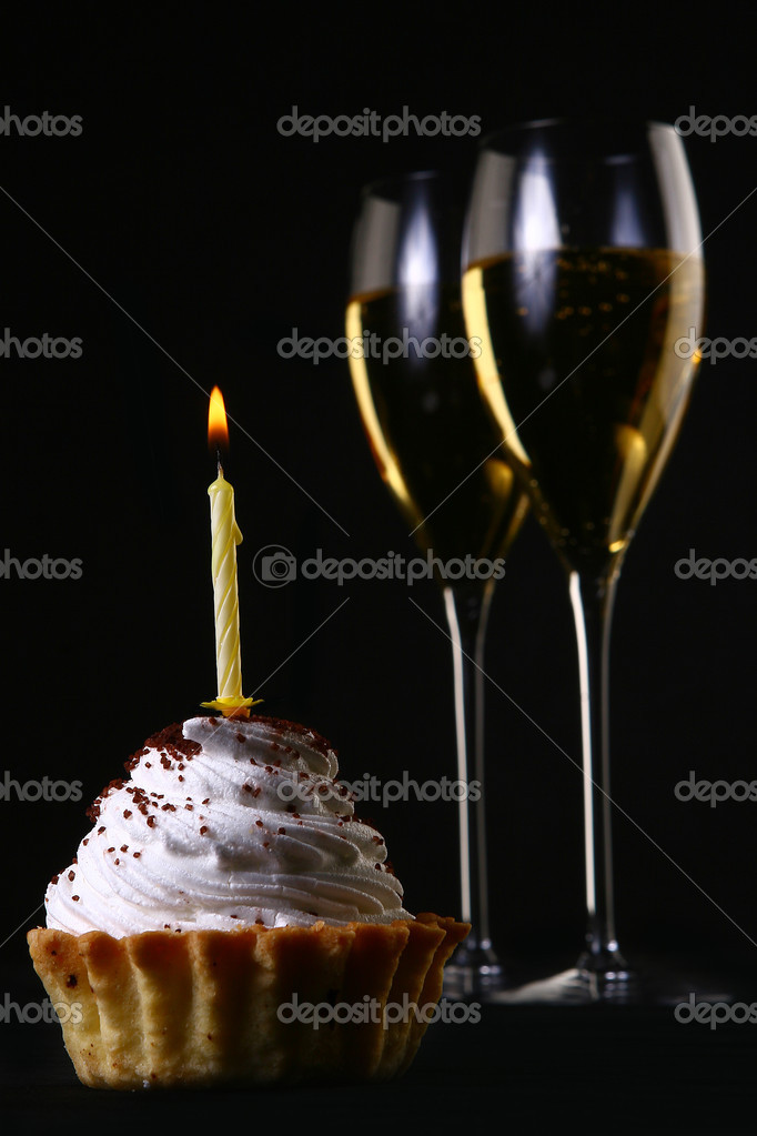 Two Elegant Glasses With Birthday Cake Stock Photo
