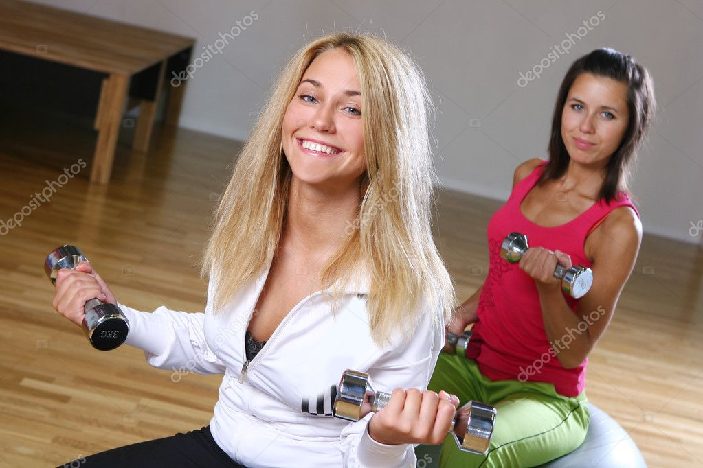 Beautiful young woman on fitness training