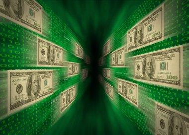 100 bills flying through a green vortex, with walls of binary c