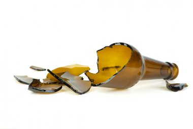Shattered brown beer bottle