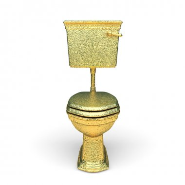Isolated golden toilet bowl