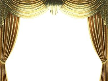 Golden velvet curtain opening scene