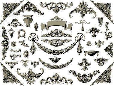 Vector set of vintage design elements