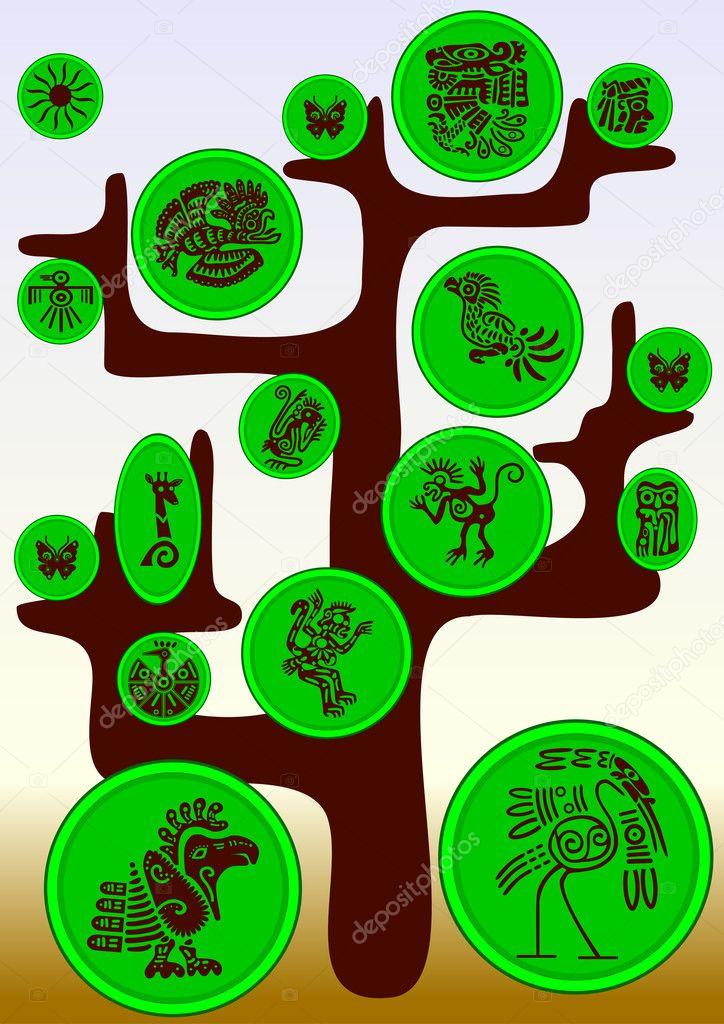 Vector Tree With American Indians Symbols Stock Vector Makarova