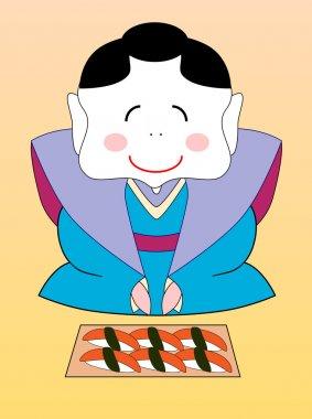 Vector japanese geisha with a set of sushi