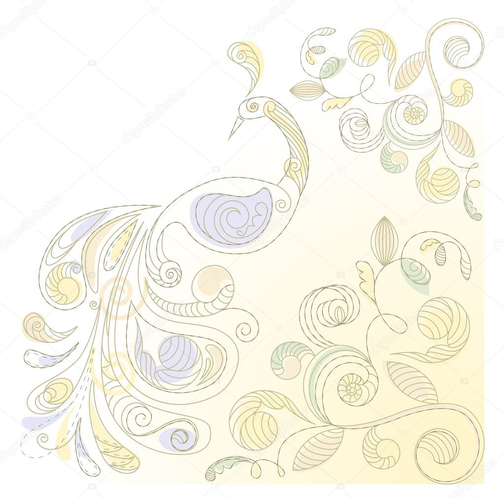 Vector floral background with peacock