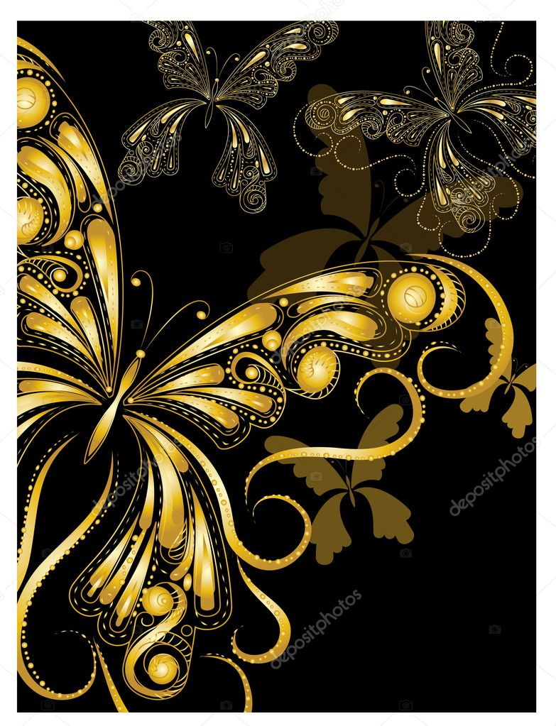 Vector vintage golden butterflies with floral ornament on black