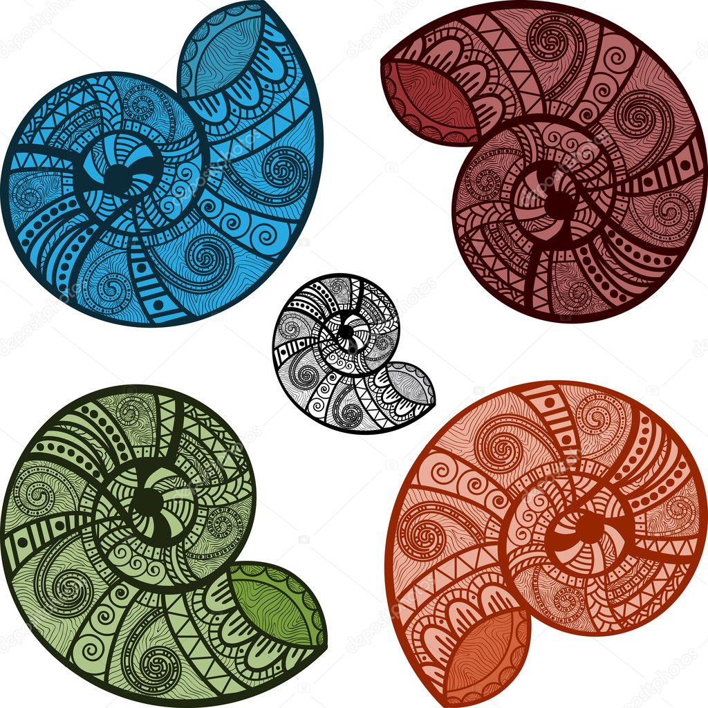 five bright snail shells with ethnic patterns