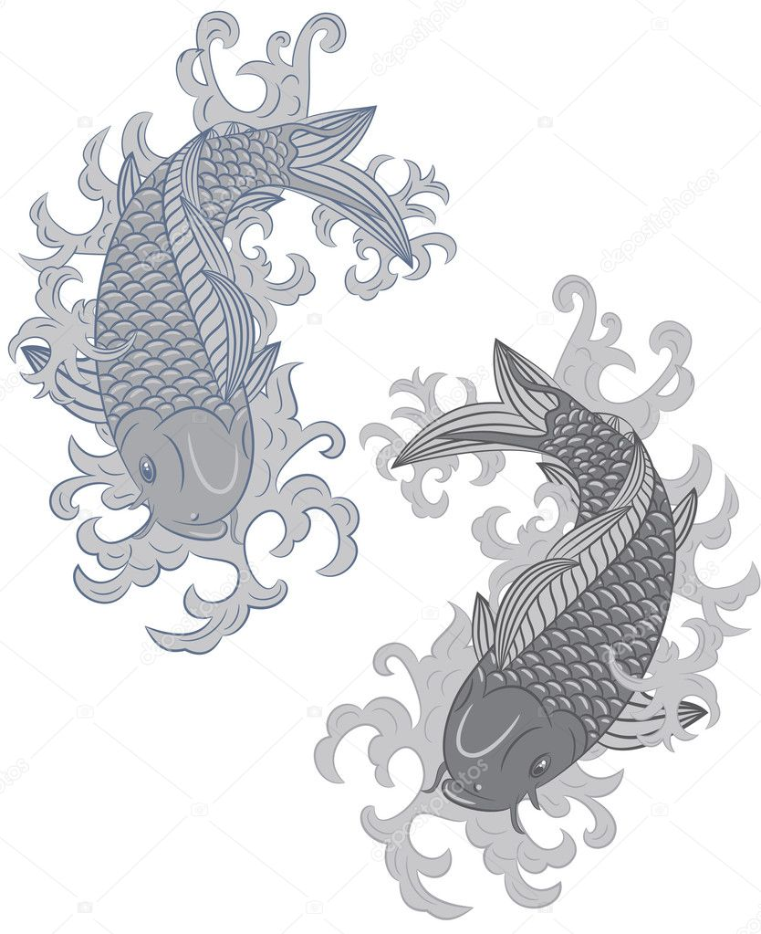 japanese style koi (carp fish)