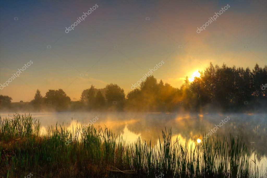 Dramatic sunrise on lake
