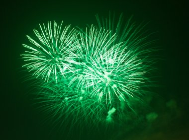 Green fireworks at night