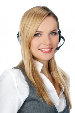 Customer Representative with headset smiling during a telephone