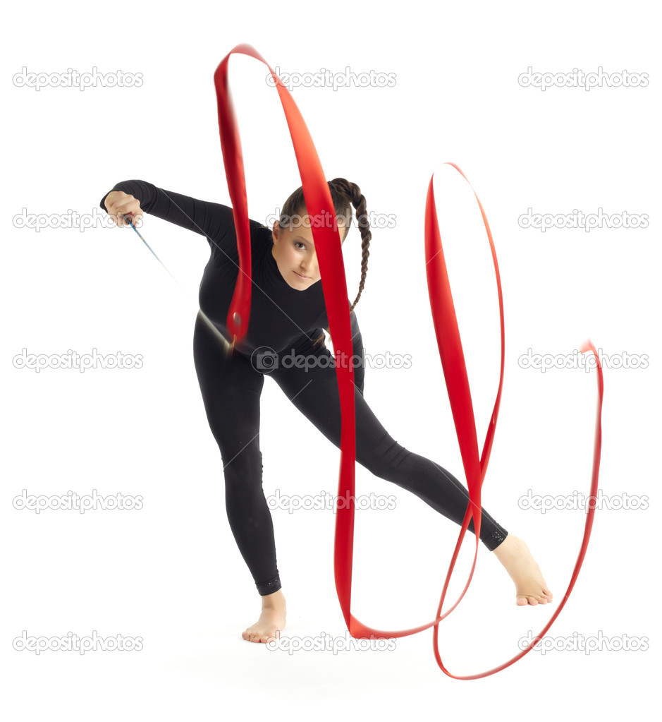 Gymnastic with ribbon posing on white