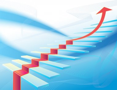 Background with stair and red arrow stock vector