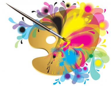 Palette of the artist with a brush and paints clip art vector