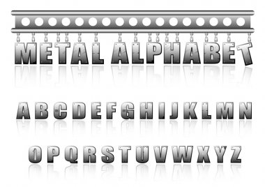 Vector metal alphabet with bolts and scratches