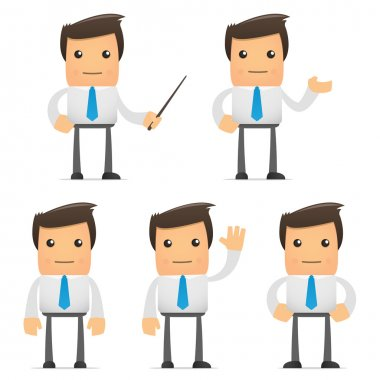 Set of funny cartoon office worker in various poses for use in presentations, etc. stock vector